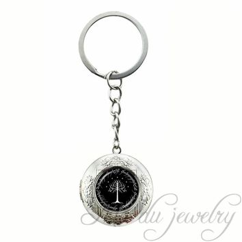 Vintage Hobbit Key Chains Black Background White Tree Locket Key Chain Ring Lord of Inspired Glass Cabochon Pendant Keychain