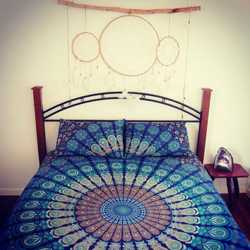 Mandala quilt cover + 2 matching pillowcases,  Boho duvet cover and pillowcases, Roundie mandala doona cover+2 pillowcases, bohemian bedding