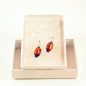 Red, Blue, Gold Earrings. Asian Abstract Inspired Earrings