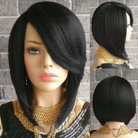 Short Side Parting Straight Inverted Bob Synthetic Wig - Black
