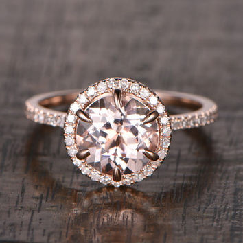 8mm Morganite Engagement ring Rose gold,Diamond wedding band,14k,Round Cut,Gemstone Promise Bridal Ring,6 Claw Prongs,fashion Design,Halo