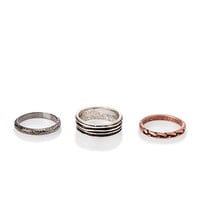 Etched Burnished Ring Set Silver/Gunmetal