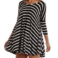 Black/Ivory Striped Trapeze T-Shirt Dress by Charlotte Russe