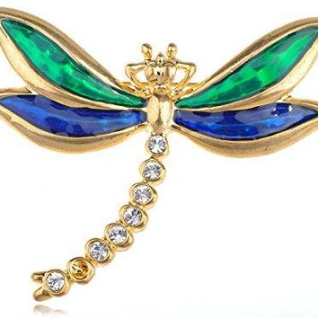 Alilang Golden Tone Clear Rhinestones Green Blue Dragonfly Insect Brooch Pin