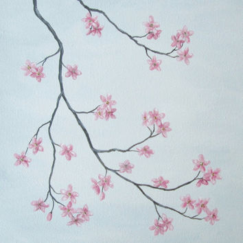 "Cherry Blossom Painting, Pink Cherry Blossoms, Original Fine Art, Nature Fine Art, Pink Flowers, Grey, Gray Art, Original Acrylic 10"" X 10"""