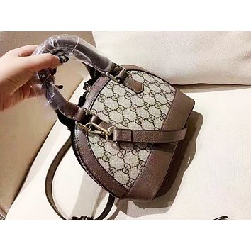 GUCCI fashionable lady print patchwork color shell shoulder bag hot seller of casual shopping bag Khaki+Dark Coffee