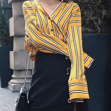 Yellow Stripe V-neck Drop Shoulder Long Sleeve Shirt