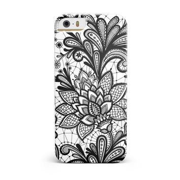 Black and White Geometric Floral iPhone 5/5S/SE INK-Fuzed Case