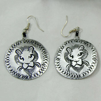 Handmade Silver Aluminum Lion Etched Dangle Earrings