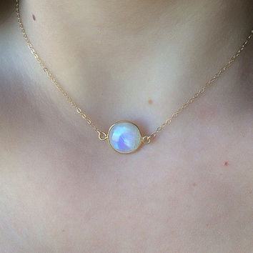 Floating Moonstone 14k Gold Filled Tiny Necklace Simple Dainty Necklace