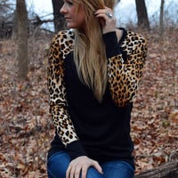 Queen of Everything Leopard Sleeve Top Black