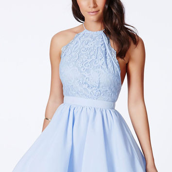 Summer Fashion New Sexy Black Cross Back Lace Detail Party Skater Dress