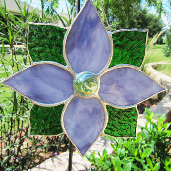 Stained Glass Purple Flower Sun Catcher ~ Glass Garden Decoration ~  Stained Glass Lawn Ornament ~ 7.25 X 7.25 Inches
