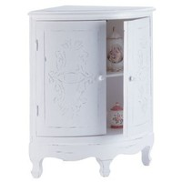Distressed White Wood Perfect Bathroom Corner Cabinet