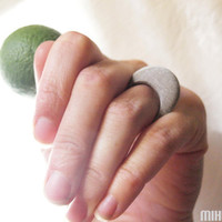 hand engraved beach pebble ring nature inspiration natural form