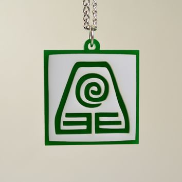 Avatar Earth Bender Pendant Necklace - Laser Cut Acrylic