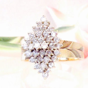 Vintage 1 Carat 14K Diamond Cluster Cocktail Ring/ White and Yellow Gold