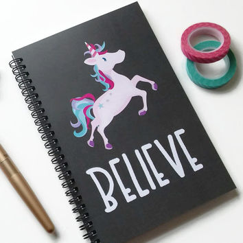 Writing journal, spiral notebook, bullet journal, cute notebook, diary sketchbook blank lined grid, unicorn - Believe