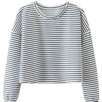 White Color Block Stripe Print Crop Sweatshirt