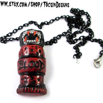 BLOOD VIAL NECKLACE  vampire dracula potion bottle gothic horror