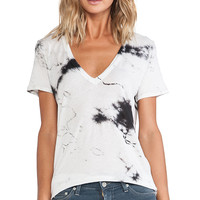 Enza Costa Loose Short Sleeve V Tee in Black