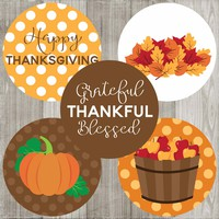 Thanksgiving Sticker Labels - Holiday Favor and Envelope Seal Labels