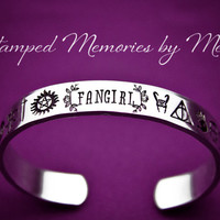 Fangirl - Hand Stamped Cuff Bracelet - Fandom Jewelry - Avengers, Supernatural, LOTR, Game of Thrones, Walking Dead, Harry Potter, Sherlock