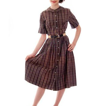Vintage  Cotton Shirt Dress Brown Plaid Barnesville 1950s NOS 36-25-Free