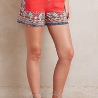 Hei Hei Scarf-Printed Shorts in Red Motif Size: