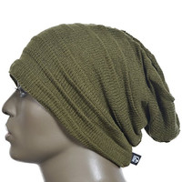 Men Crease Slouch Beanie Large Skullcap Skull Ski Hat Xzz (Green)