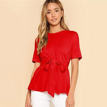 Self Belt Keyhole Back Blouse Solid Short Sleeve Top Women Office Ladies Work Elegant Blouse