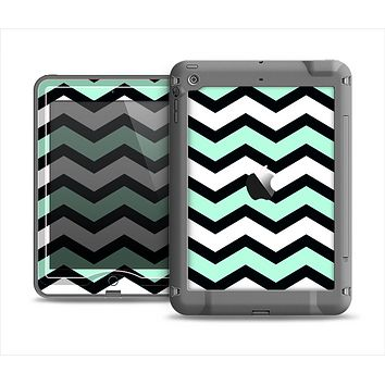 The Teal & Black Wide Chevron Pattern Apple iPad Mini LifeProof Nuud Case Skin Set