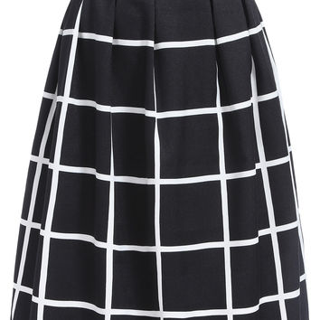 Plaid Skater Midi Skirt