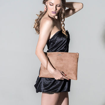 Sophie-Blush Rose Metallic Large Leather Pouch