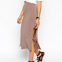 ASOS Midi Skirt With Open Tie Sides