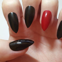 Red and black Stiletto nails Fake nails, False nails, Acrylic nails, Custom nail set, Press on nails, Glue on nails, Fashion Nails.