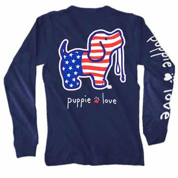 USA Pup Long Sleeve Tee in Navy by Puppie Love