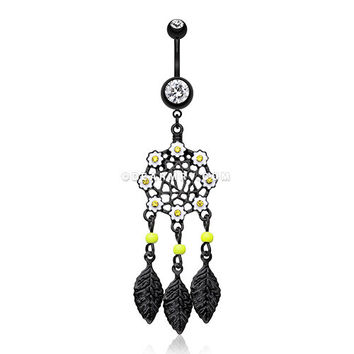 Colorline Daisy Glam Dreamcatcher Belly Button Ring (Black/Clear)