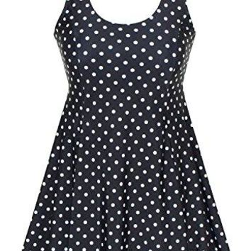 DANIFY Womens Polka Dot Plus Size Swimwear Modest Bathing Suits Cover up Swimdress