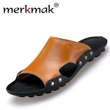 Merkmak Genuine Leather Slippers Men Summer Sandals Breathable Brand Designer Stylish Shoes Real Leather Seaside Beach Flats