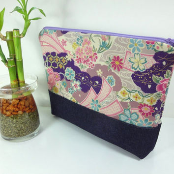 Cosmetic Bag, Travel Pouch, Padded Cosmetic Pouch Japanese Kimono Cotton Fabric Cherry Blossoms Purple