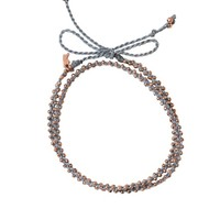 Double Wrap Bracelet - Blue + Rose Gold