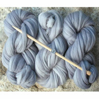 Super Zippy hand dyed SUPER BULKY Weight Wool Yarn for Knitting and Crochet: chunky, unique, thick, soft. SILVER by Living Dreams, 4oz