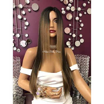 Balayage Blonde Highlights Long Straight Hair Swiss Lace Front Wig 24"
