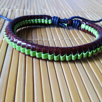 Leather Cotton Ropes Woven WomenJewelry Bangle Cuff Bracelet 1307A