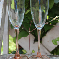 2 vintage Pink long stemmed champagne flutes, Arcoroc France pink wedding, fluted champagne glasses with pink stems, French toasting glasses