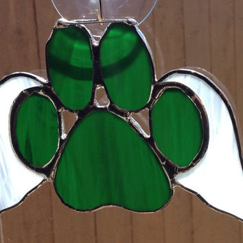 Green Stained Glass Paw Print With Angel Wings Suncatcher