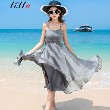 2017 summer dress Thai girl goddess dress sexy halter beach dress seaside shiny custom sling dress hanging halter temperament