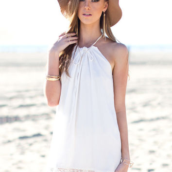 White Halter Scalloped Lace Mini Dress