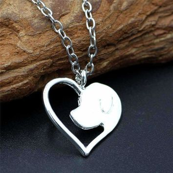 Trendy Pet Memorial Silver Plated Hollow Out Heart Dog Head Pendant Necklace For Women keepsake Jewelry